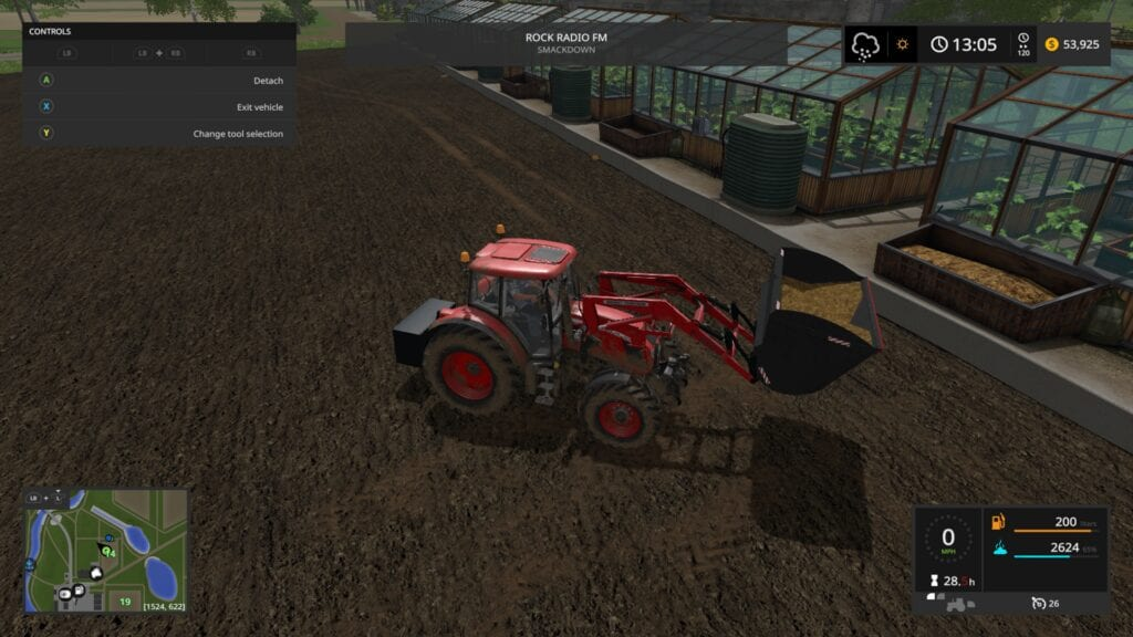 Tractor setup for Greenhouses in Farming Simulator 17