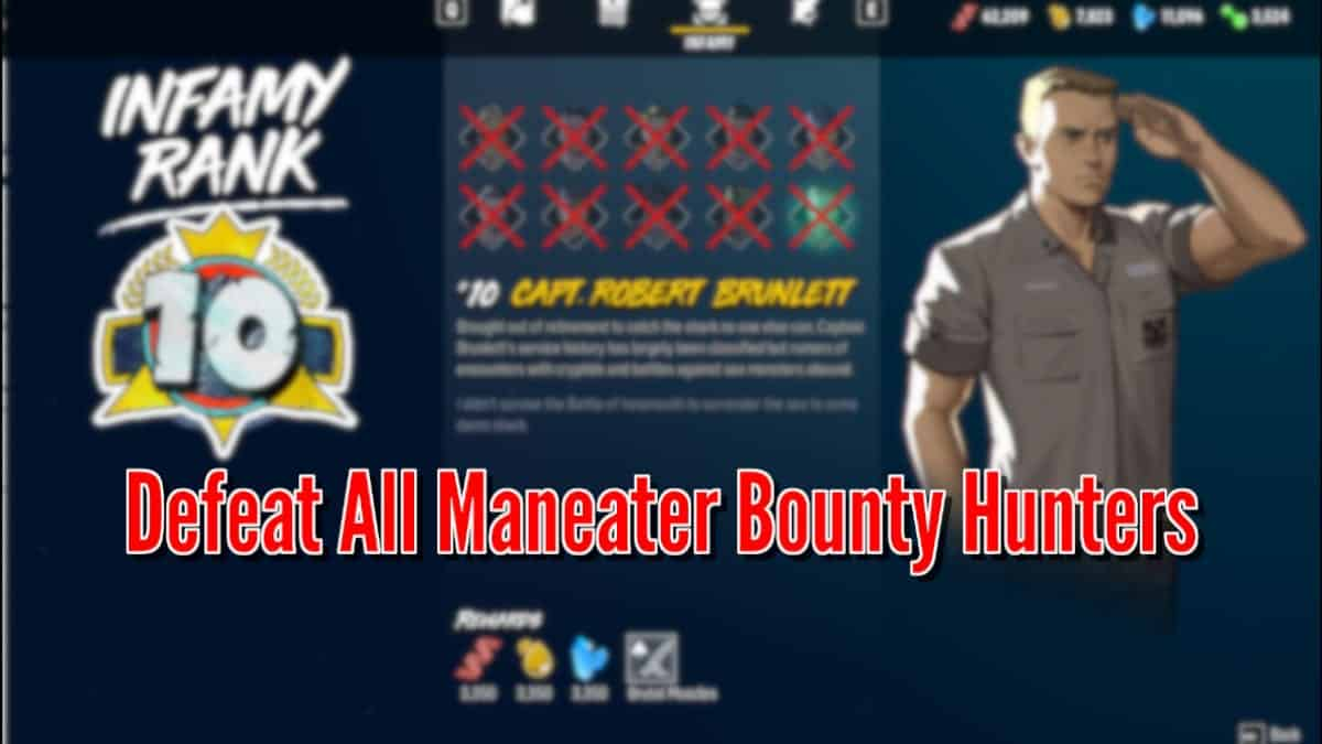 Maneater: All Bounty Hunters and Evolution Upgrades